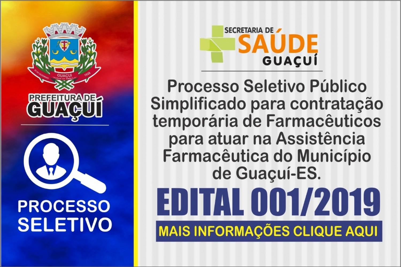 Edital de Processo Seletivo para contratação temporária de farmacêuticos be4b45bf4e490