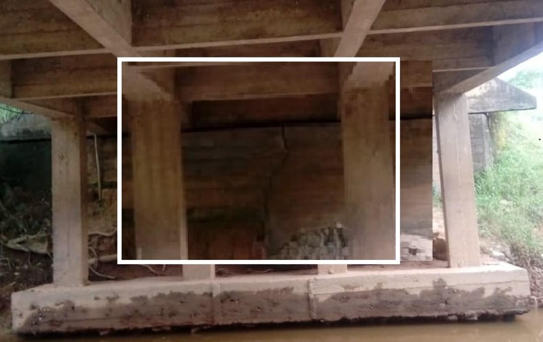 Pode cair: Defesa Civil de Guaçuí pede que seja evitada a passagem por ponte que de acesso a Dores do Rio Preto